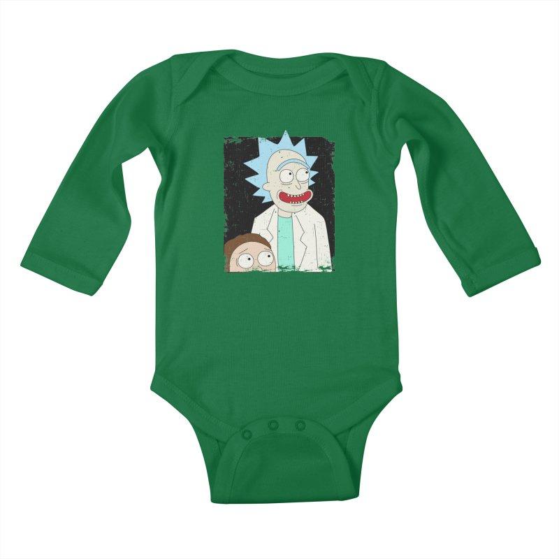 Rick and Morty Portrait Kids Baby Longsleeve Bodysuit by Diardo's Design Shop