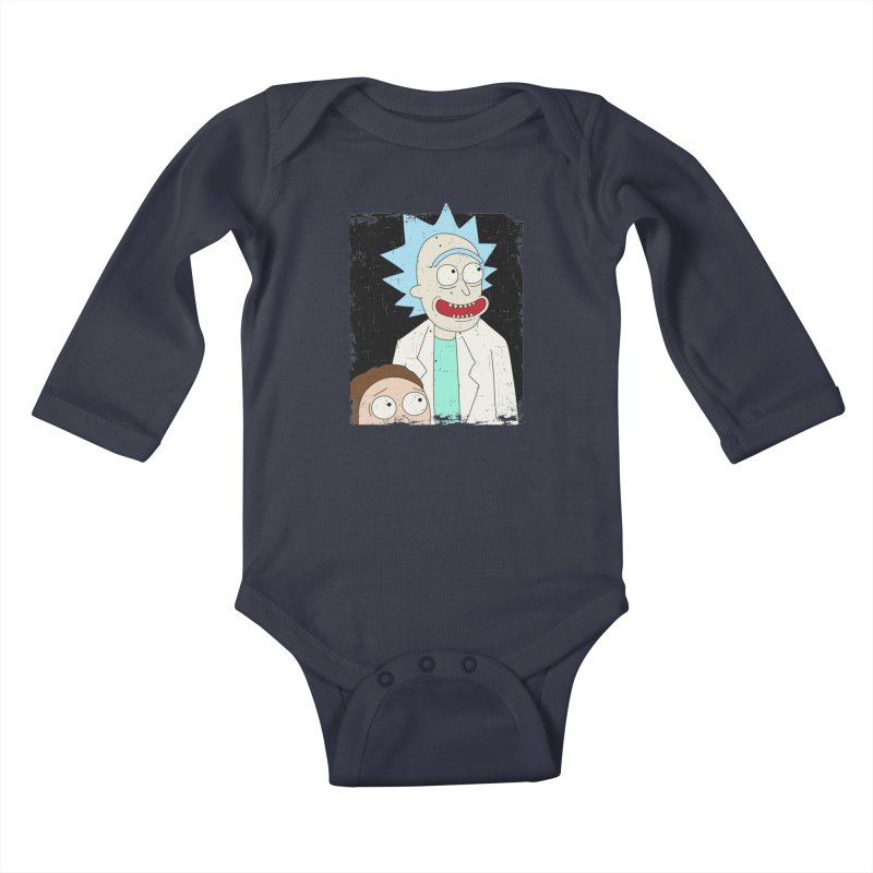 Rick and Morty Portrait Kids Baby Longsleeve Bodysuit by Diardo's Design Shop