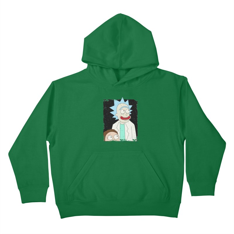 Rick and Morty Portrait Kids Pullover Hoody by Diardo's Design Shop