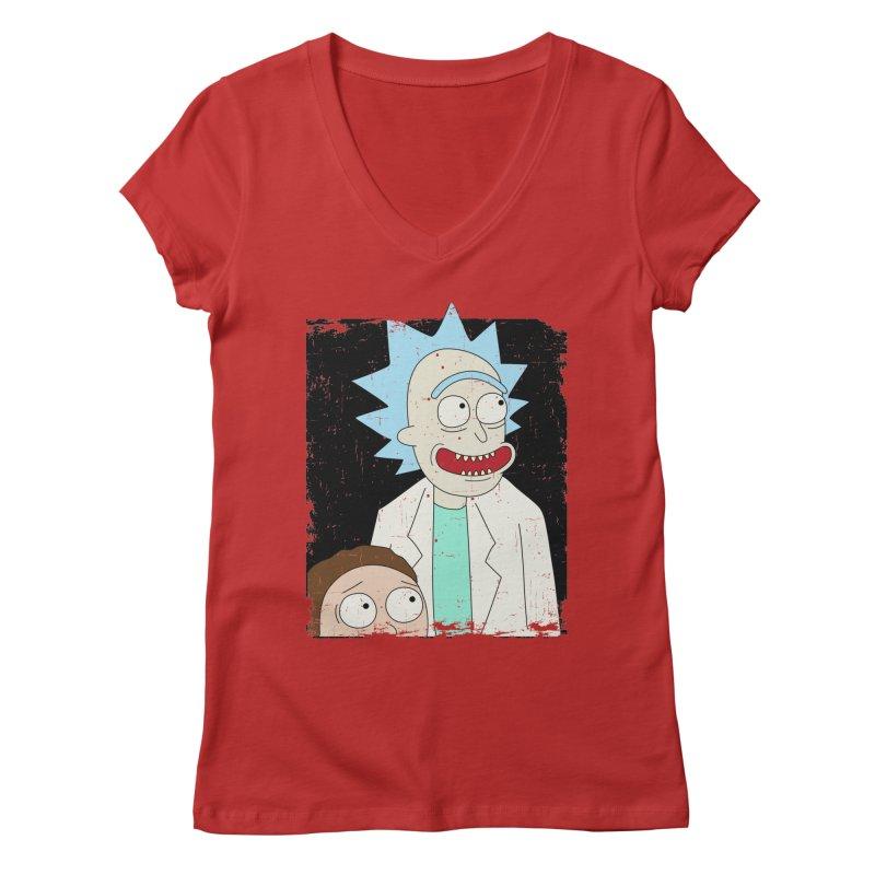 Rick and Morty Portrait Women's V-Neck by Diardo's Design Shop