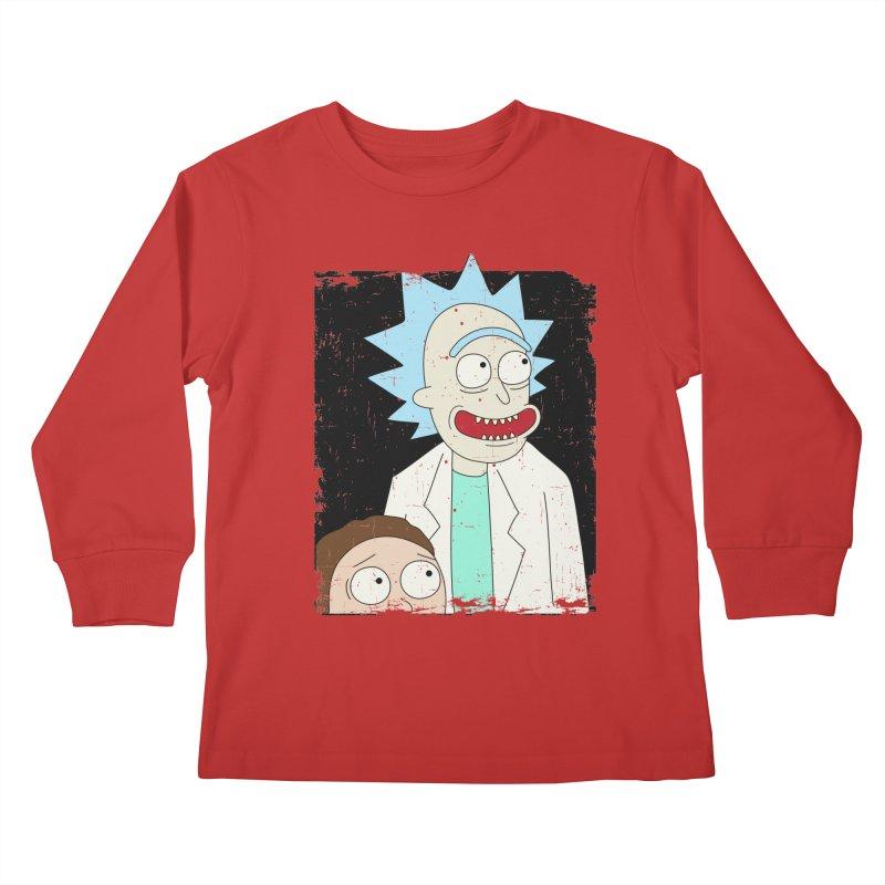 Rick and Morty Portrait Kids Longsleeve T-Shirt by Diardo's Design Shop