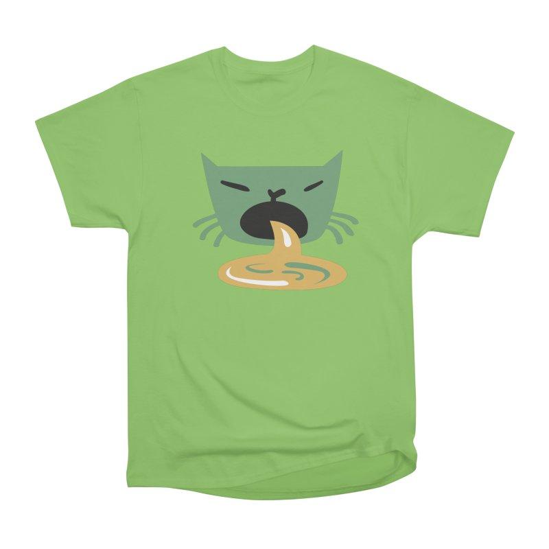 Vomit Cat in Men's Heavyweight T-Shirt Kiwi by Dicker Dandy