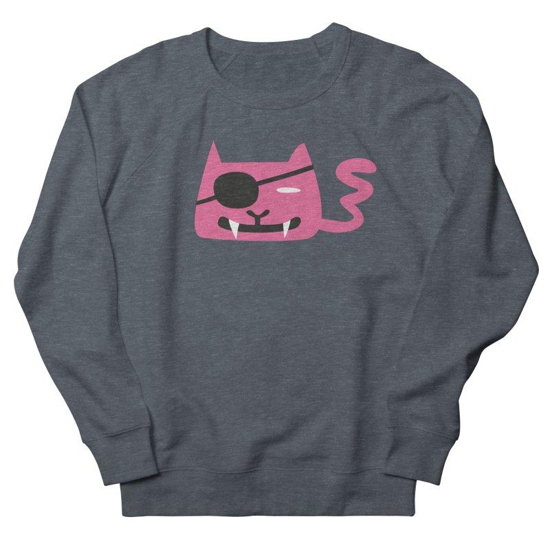 Pirate Cat in Men's Sweatshirt Heather Navy Denim by Dicker Dandy