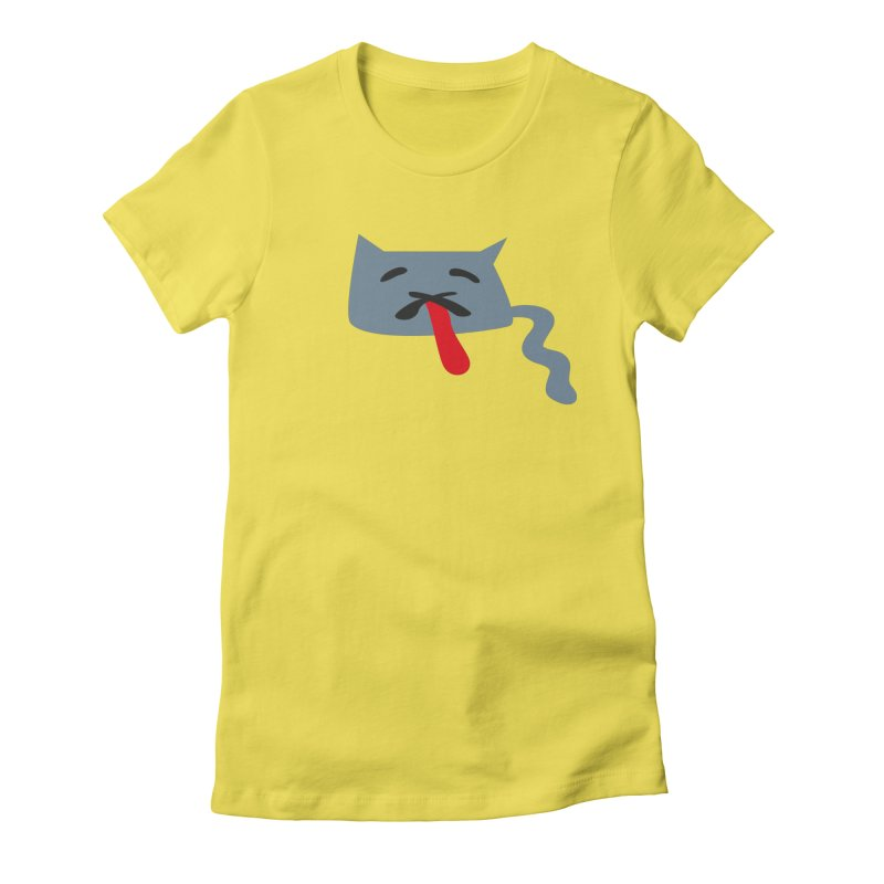 Tilt Cat in Women's Fitted T-Shirt Vibrant Yellow by Dicker Dandy