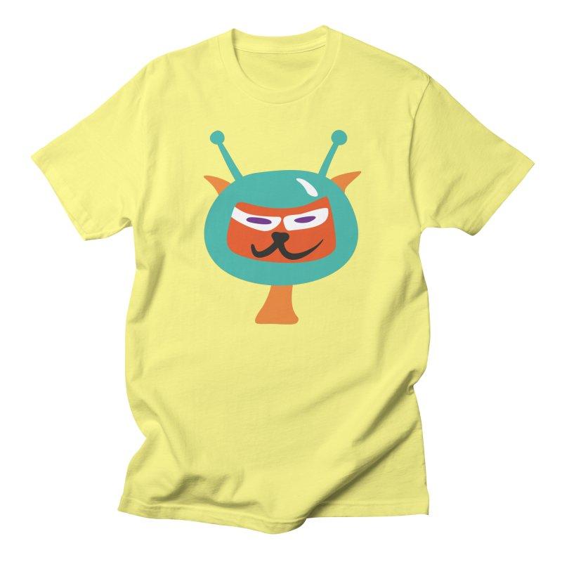 Space cat in Men's T-Shirt Lemon by Dicker Dandy
