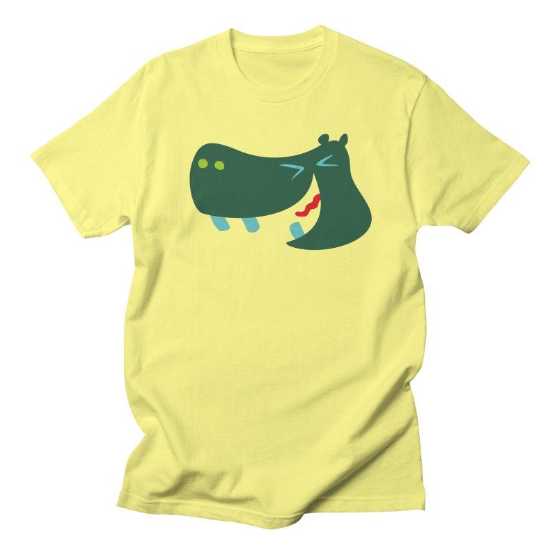 Happy Hippo in Men's T-Shirt Lemon by Dicker Dandy