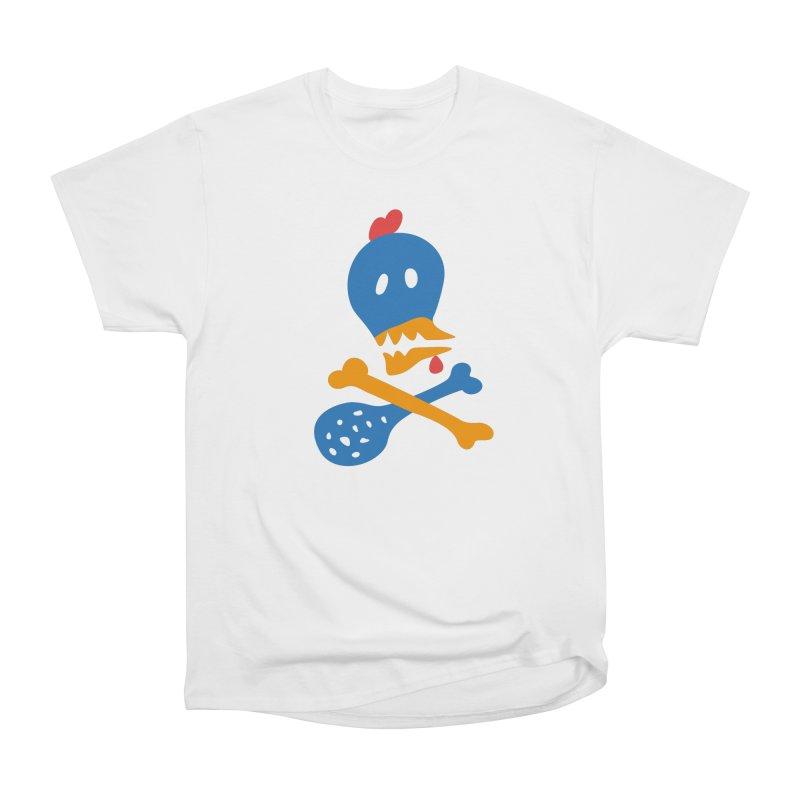 Fried Chicken in Men's Heavyweight T-Shirt White by Dicker Dandy