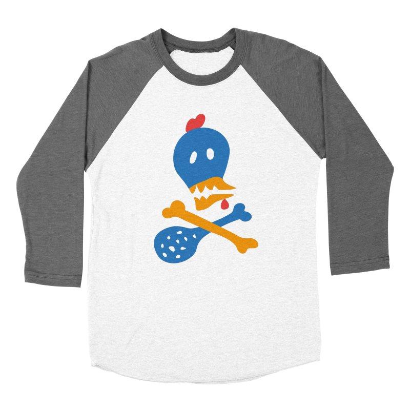 Fried Chicken in Men's Baseball Triblend Longsleeve T-Shirt Tri-Grey Sleeves by Dicker Dandy