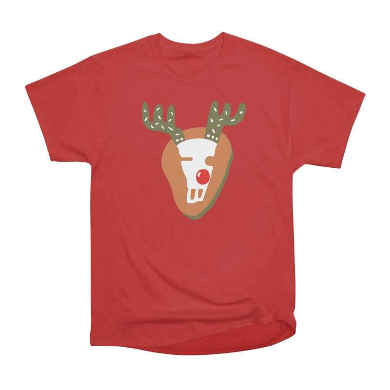 Rudi the Reindeer in Men's Heavyweight T-Shirt Red by Dicker Dandy
