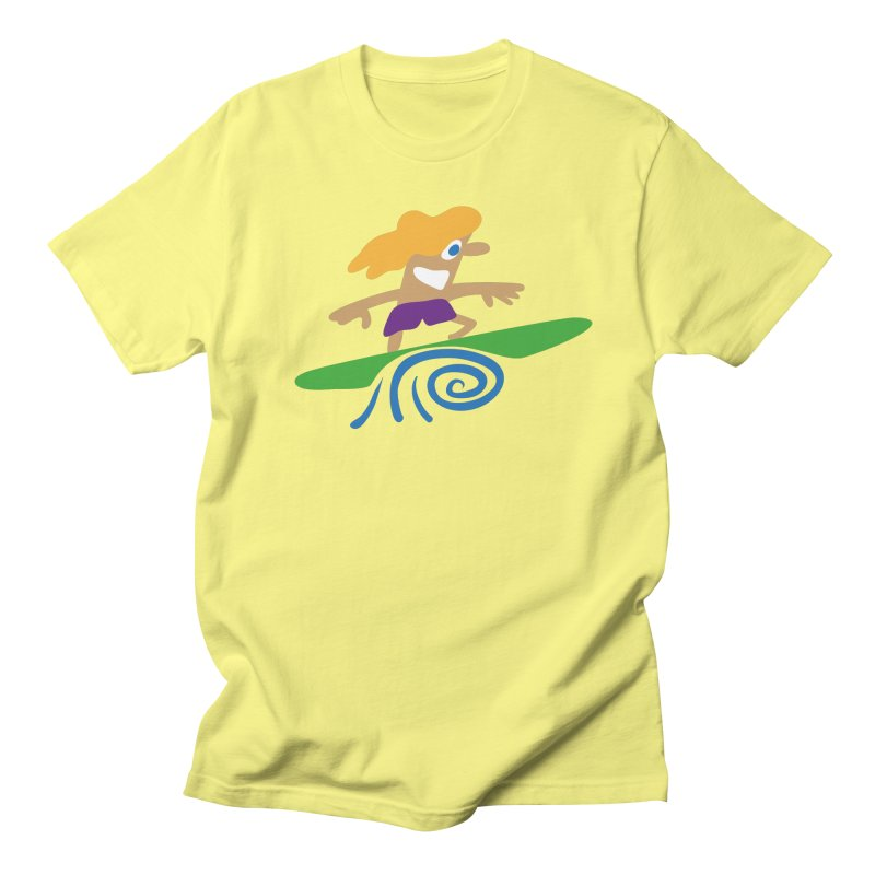 Surfer in Men's Regular T-Shirt Lemon by Dicker Dandy