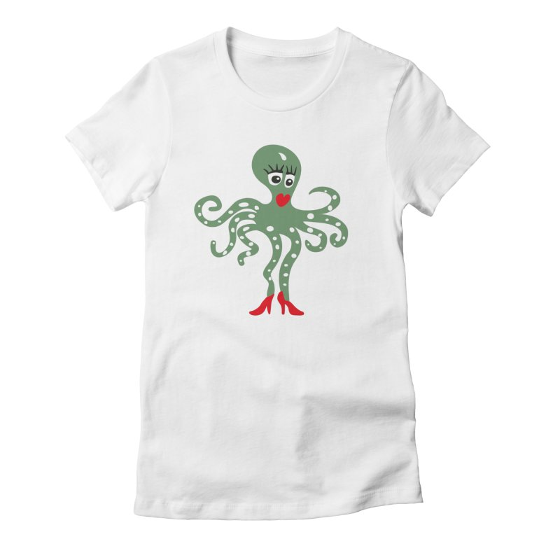 Pulpina in Women's Fitted T-Shirt White by Dicker Dandy