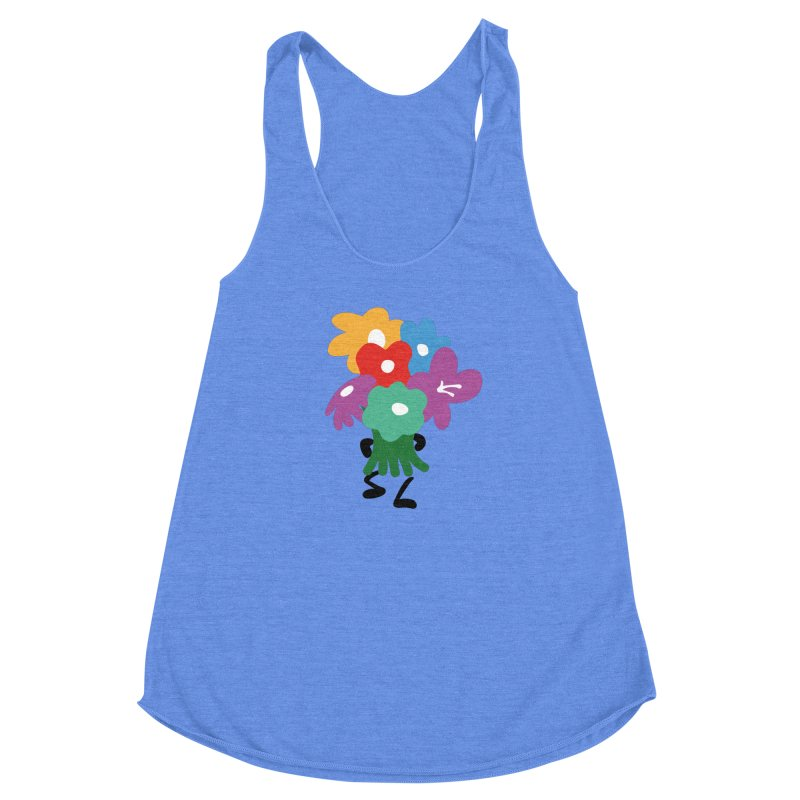 Flowers for you in Women's Racerback Triblend Tank Heather Sky Blue by Dicker Dandy