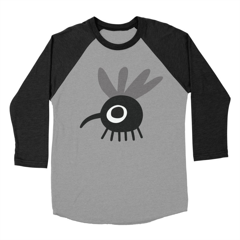 Fly in Men's Baseball Triblend Longsleeve T-Shirt Heather Onyx Sleeves by Dicker Dandy