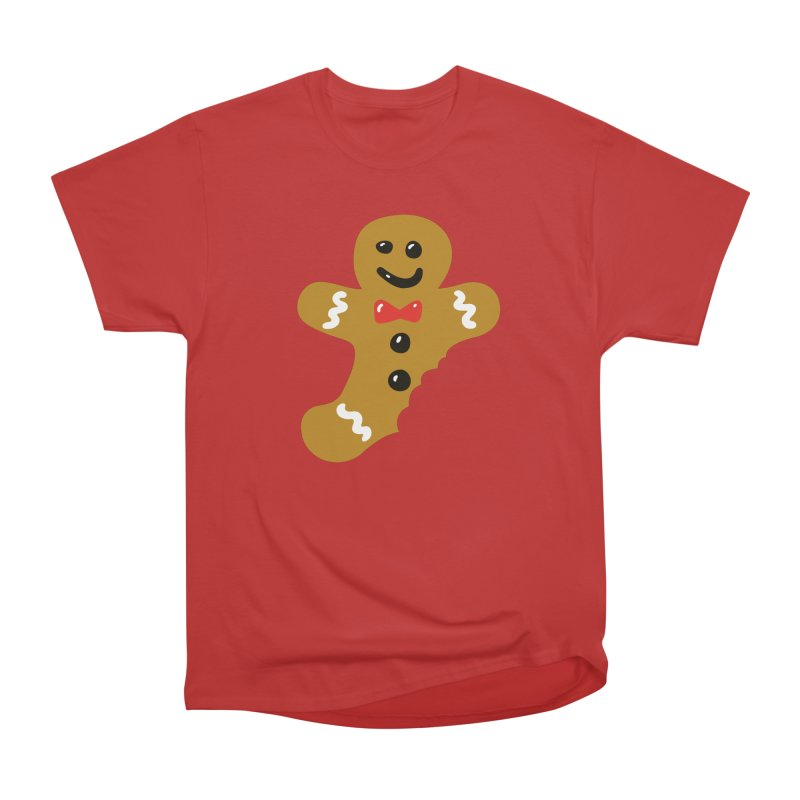 Gingerbread Man in Men's Heavyweight T-Shirt Red by Dicker Dandy