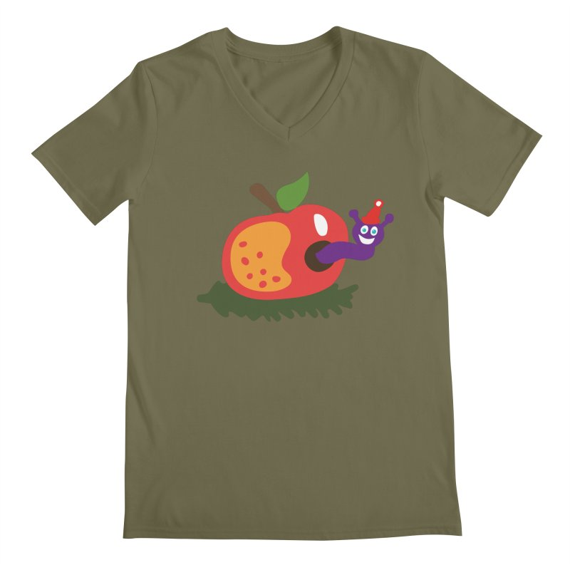 Apple Worm Men's V-Neck by Dicker Dandy