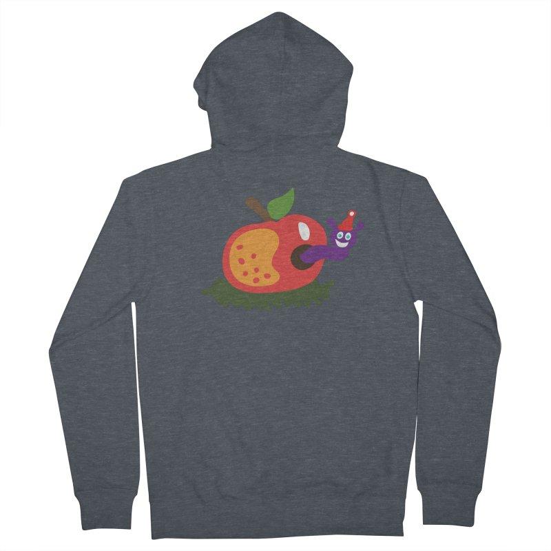 Apple Worm Men's French Terry Zip-Up Hoody by Dicker Dandy