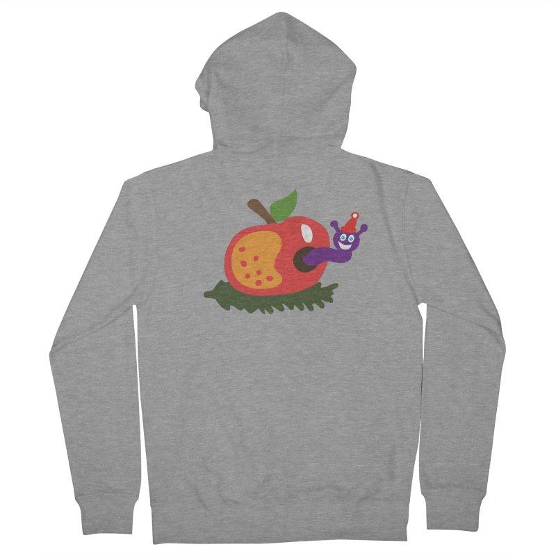 Apple Worm in Men's Zip-Up Hoody Heather Graphite by Dicker Dandy