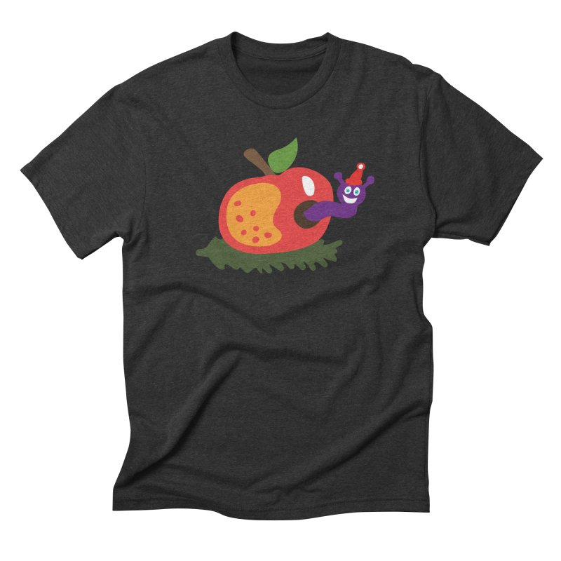 Apple Worm Men's Triblend T-Shirt by Dicker Dandy