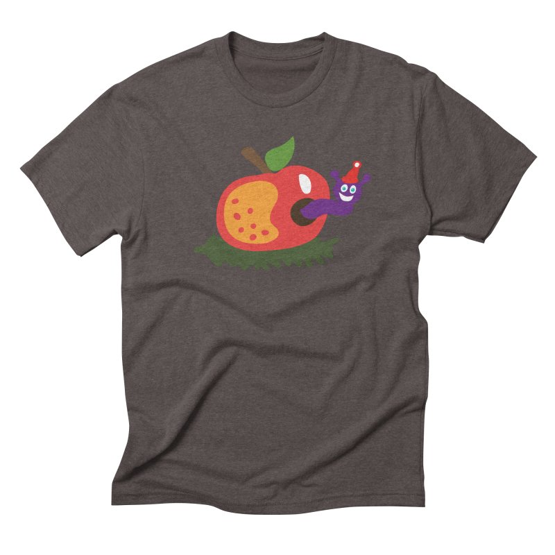 Apple Worm Men's Triblend T-Shirt by Dicker Dandy