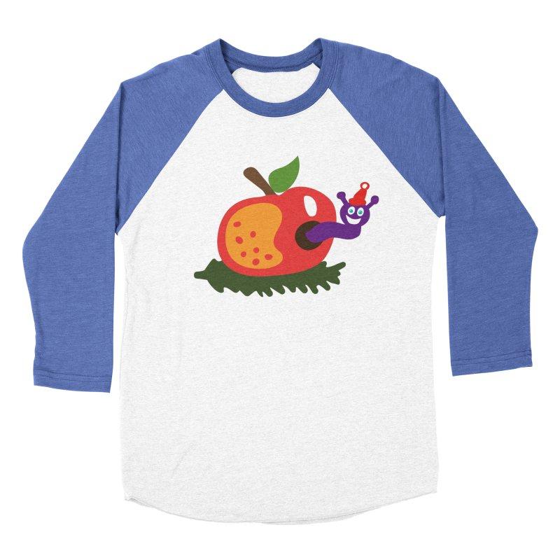 Apple Worm Women's Baseball Triblend T-Shirt by Dicker Dandy