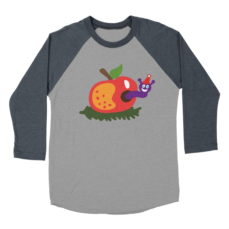 Apple Worm Men's Baseball Triblend Longsleeve T-Shirt by Dicker Dandy