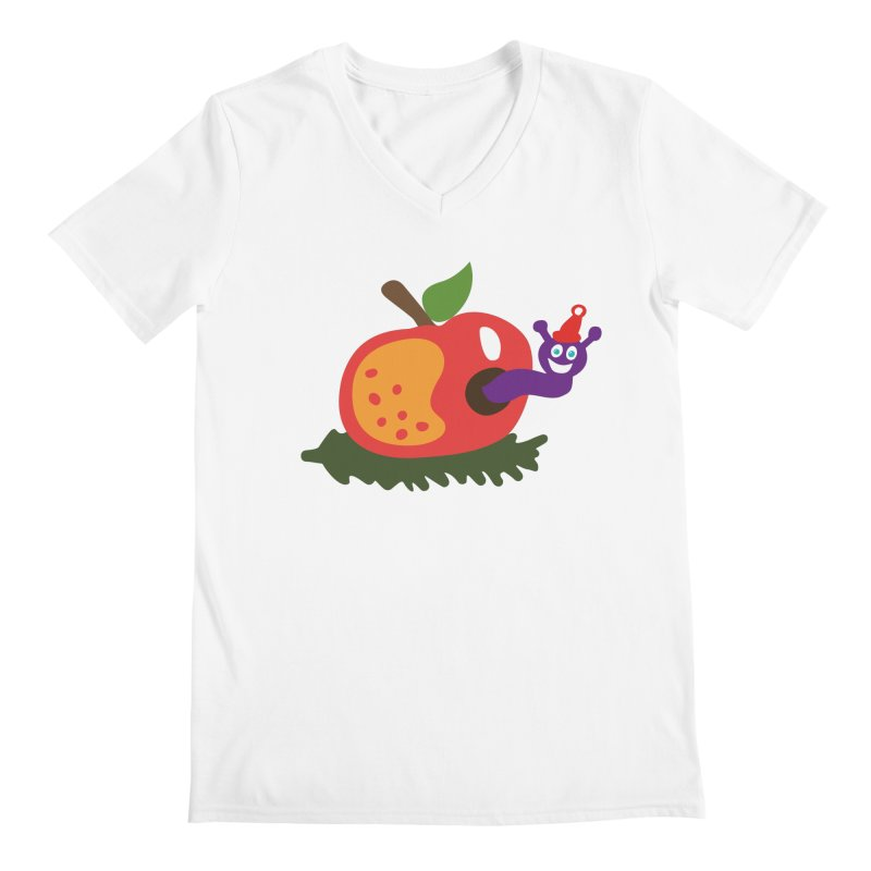 Apple Worm Men's Regular V-Neck by Dicker Dandy