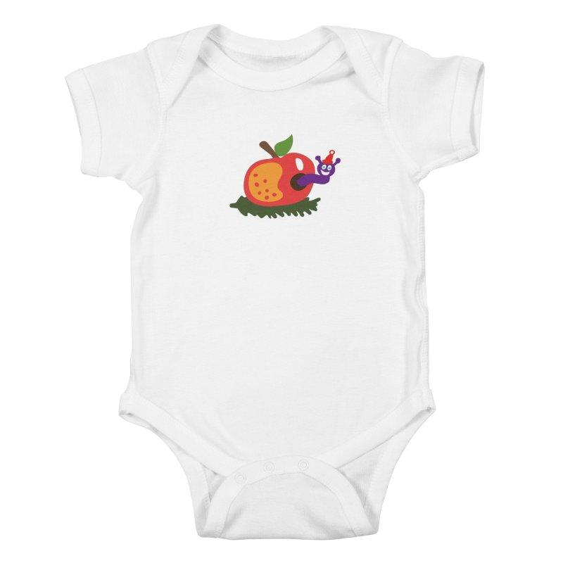 Apple Worm Kids Baby Bodysuit by Dicker Dandy