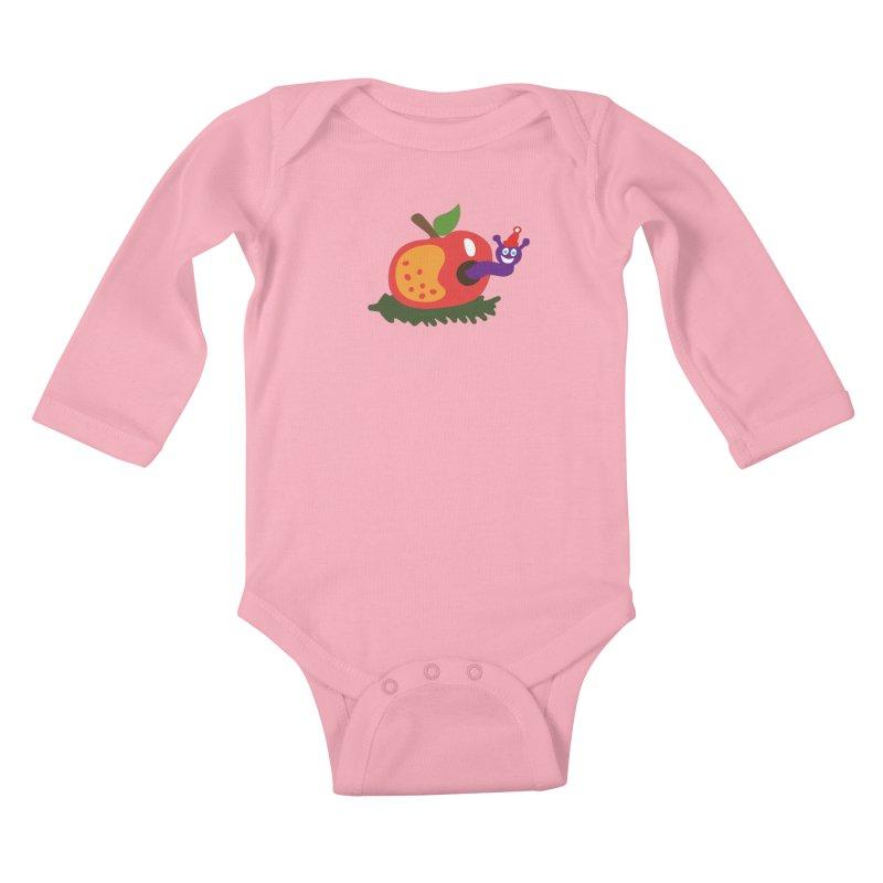 Apple Worm Kids Baby Longsleeve Bodysuit by Dicker Dandy