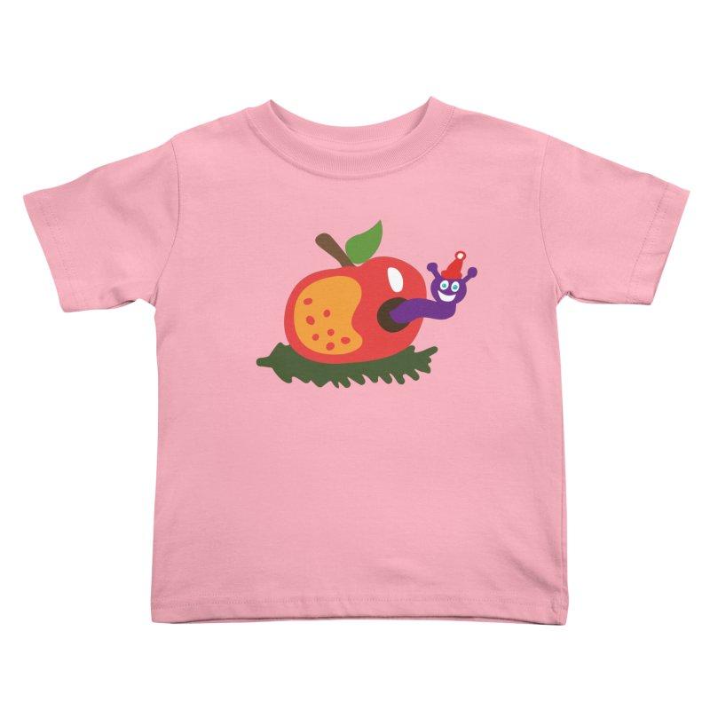 Apple Worm Kids Toddler T-Shirt by Dicker Dandy