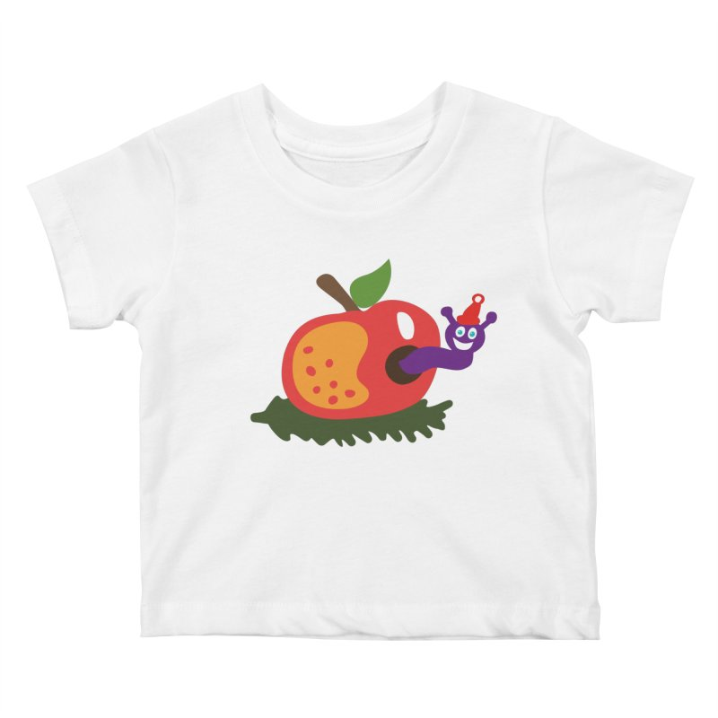 Apple Worm Kids Baby T-Shirt by Dicker Dandy