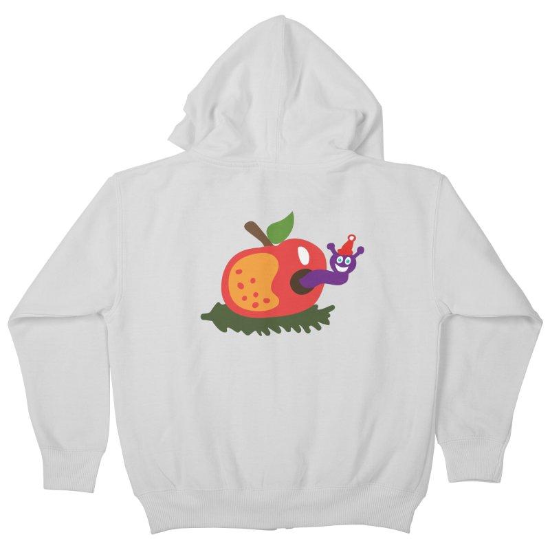 Apple Worm Kids Zip-Up Hoody by Dicker Dandy