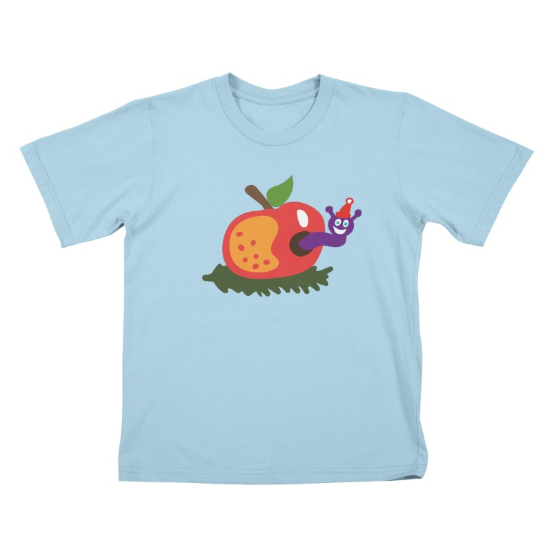 Apple Worm Kids T-Shirt by Dicker Dandy