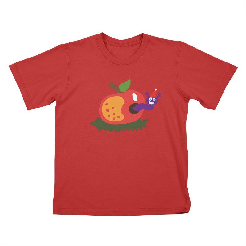 Apple Worm Kids T-Shirt by Dicker Dandy