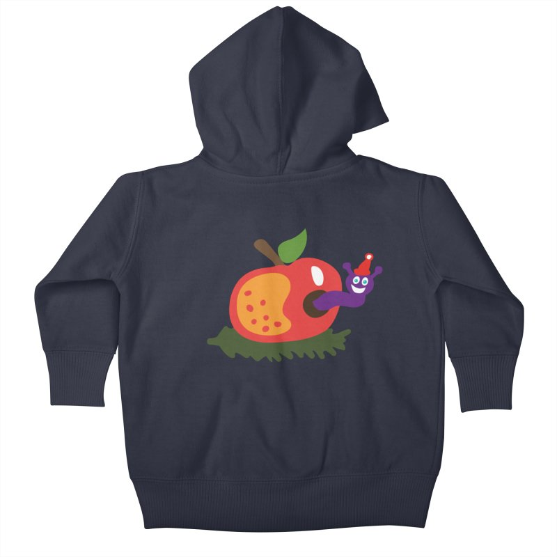 Apple Worm Kids Baby Zip-Up Hoody by Dicker Dandy