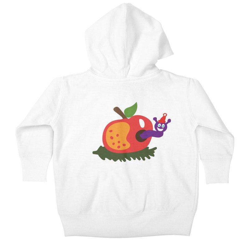 Apple Worm Kids Baby Zip-Up Hoody by Dicker Dandy