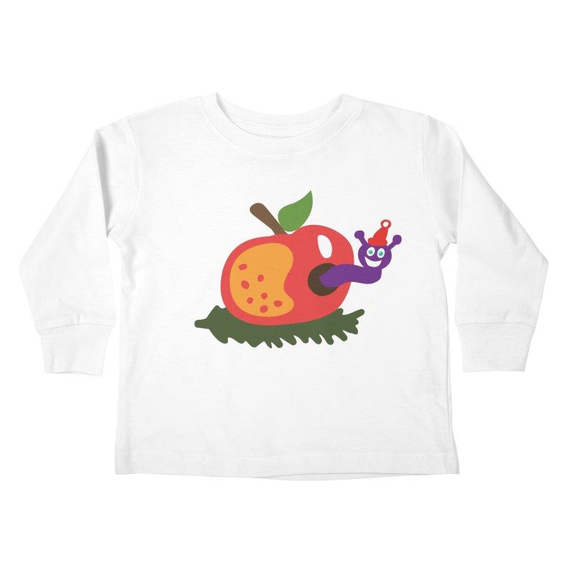 Apple Worm Kids Toddler Longsleeve T-Shirt by Dicker Dandy
