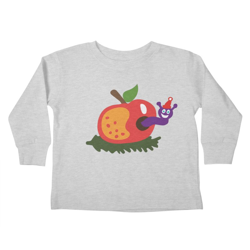 Apple Worm Kids Toddler Longsleeve T-Shirt by Dicker Dandy
