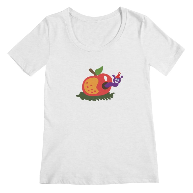 Apple Worm Women's Regular Scoop Neck by Dicker Dandy