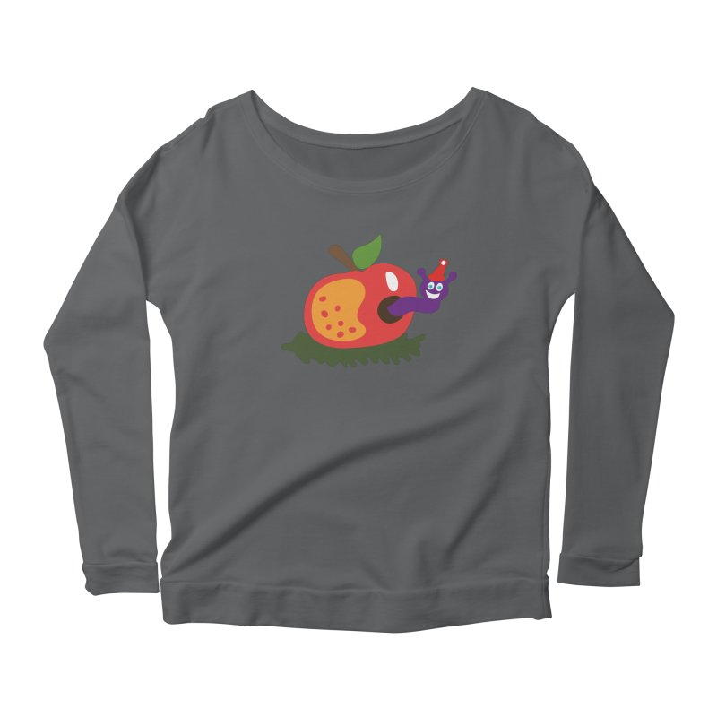 Apple Worm Women's Scoop Neck Longsleeve T-Shirt by Dicker Dandy