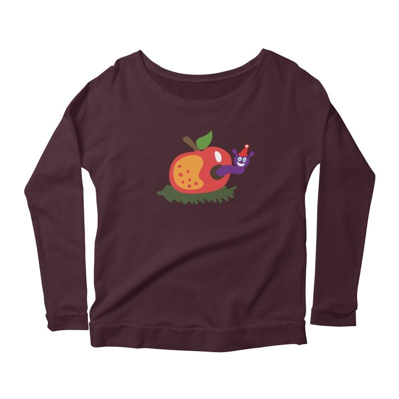 Apple Worm Women's Scoop Neck Longsleeve T-Shirt by Dicker Dandy