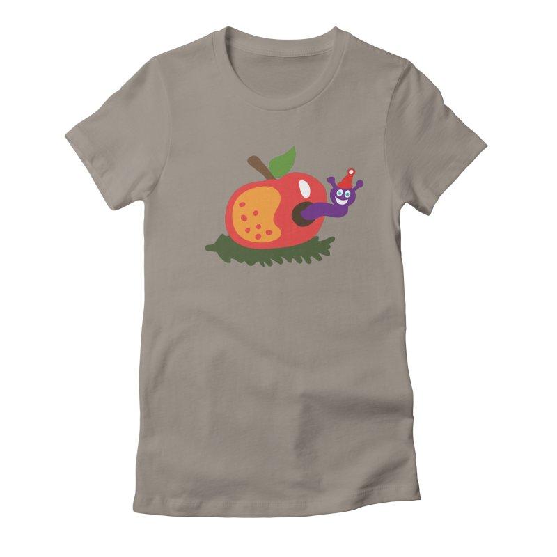 Apple Worm Women's Fitted T-Shirt by Dicker Dandy