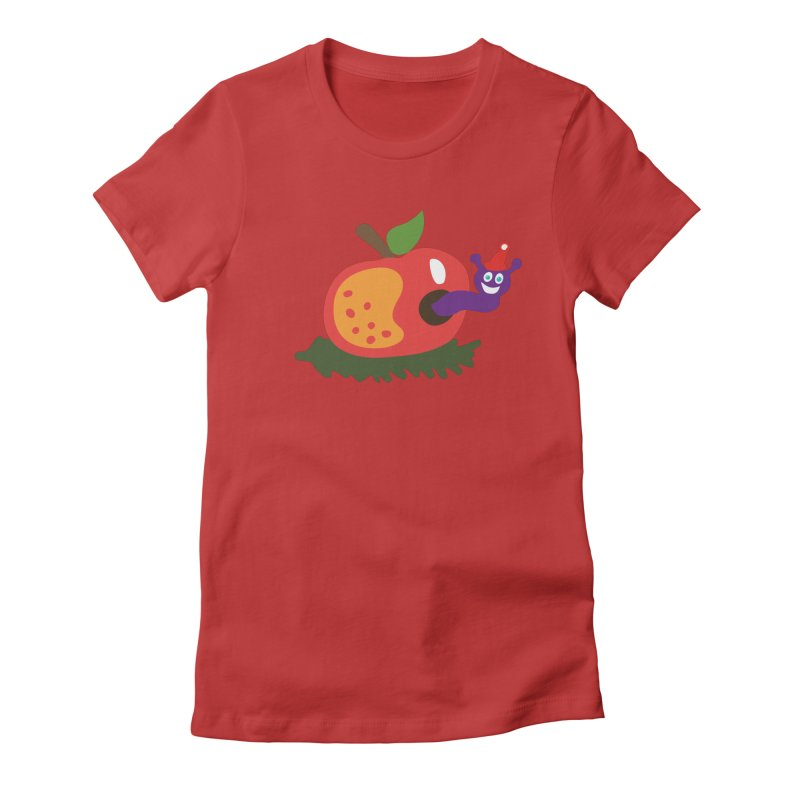 Apple Worm Women's Fitted T-Shirt by Dicker Dandy