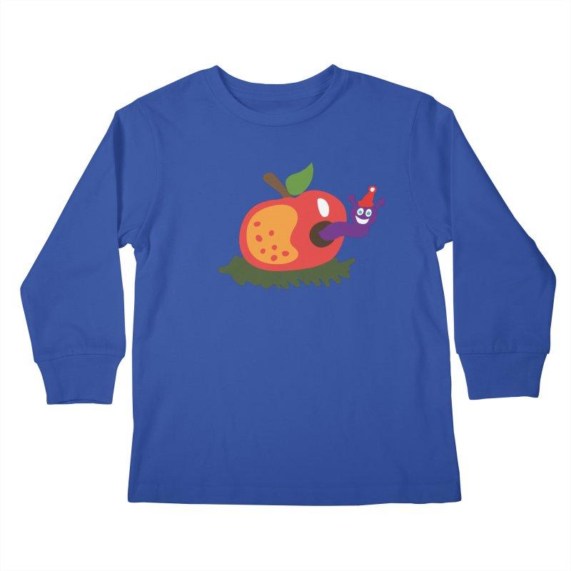 Apple Worm Kids Longsleeve T-Shirt by Dicker Dandy