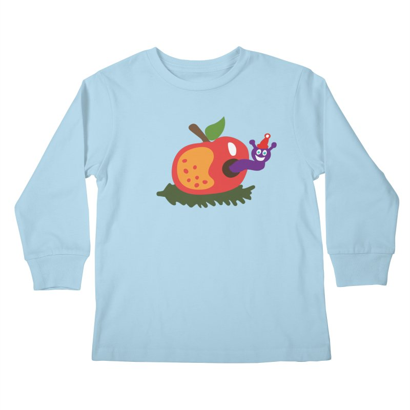 Apple Worm Kids Longsleeve T-Shirt by Dicker Dandy