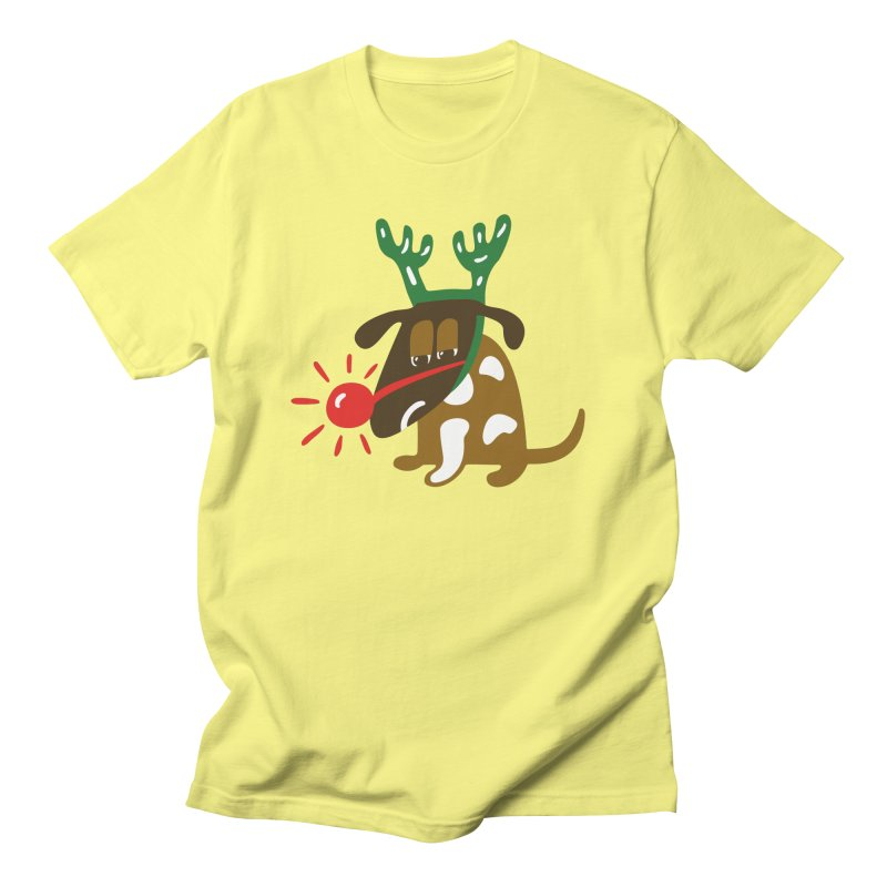 Xmas Dog in Men's T-Shirt Lemon by Dicker Dandy