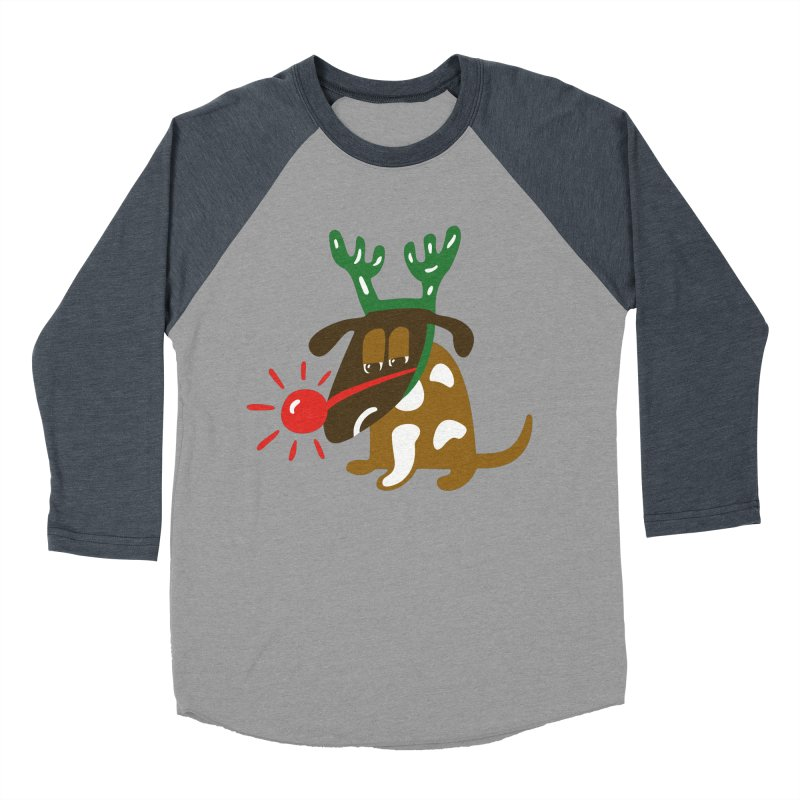 Xmas Dog Men's Baseball Triblend T-Shirt by Dicker Dandy