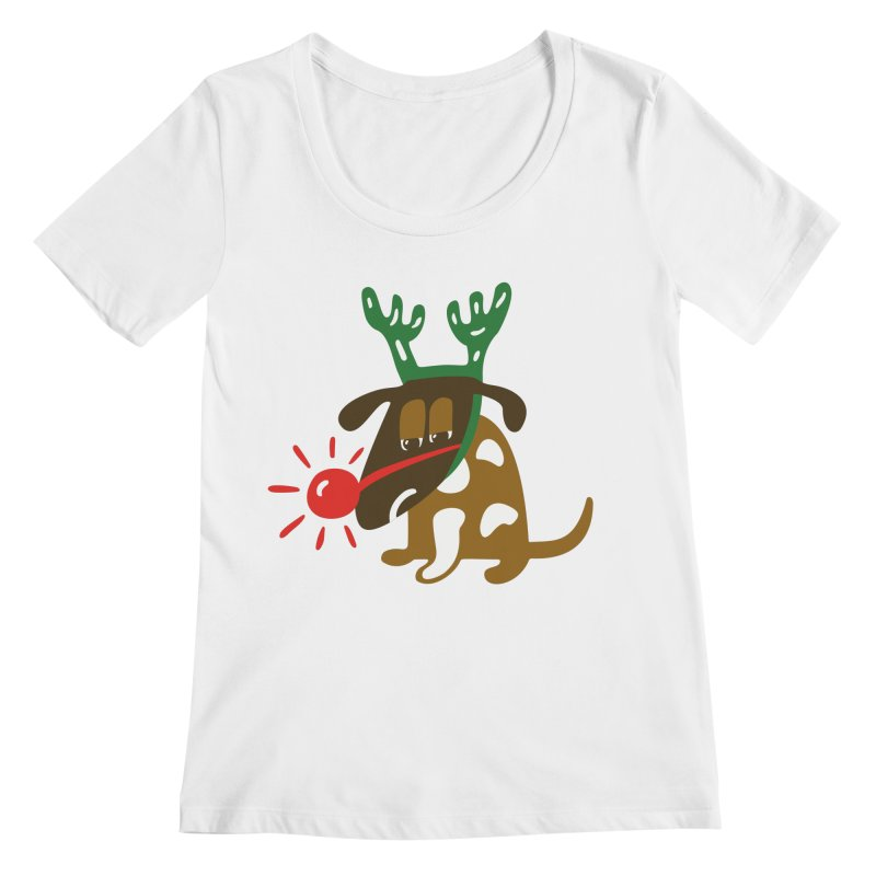 Xmas Dog Women's Regular Scoop Neck by Dicker Dandy