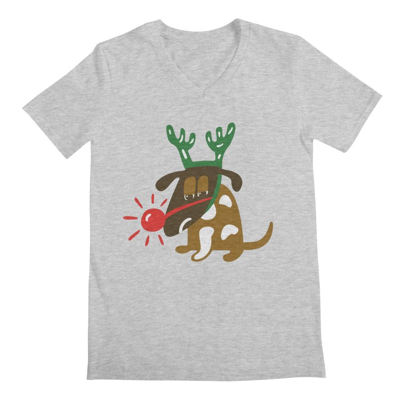 Xmas Dog Men's Regular V-Neck by Dicker Dandy