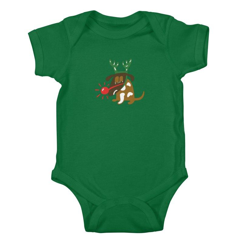 Xmas Dog Kids Baby Bodysuit by Dicker Dandy
