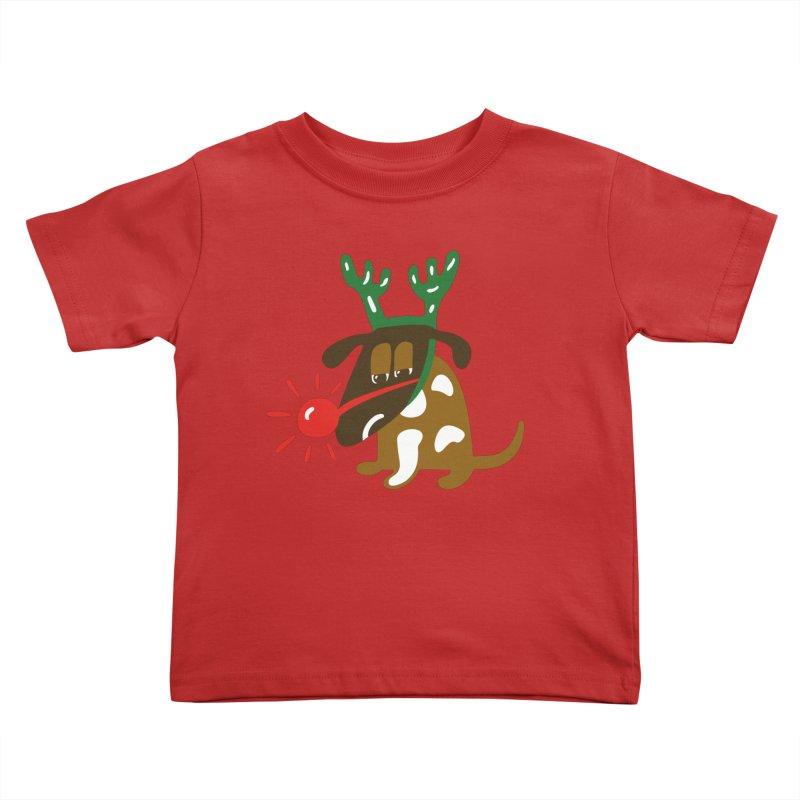 Xmas Dog Kids Toddler T-Shirt by Dicker Dandy